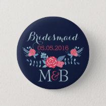 Bridesmaid button navy and pink Monogram wedding