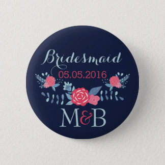 Bridesmaid button navy and pink Monogram wedding
