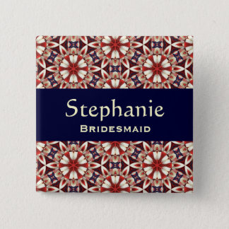 Bridesmaid Button Red Floral Pattern V2