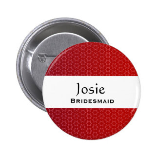 Bridesmaid Button Red Star Pattern