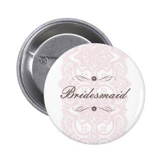 Bridesmaid Button-Vintage Bloom Pinback Button