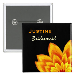 Bridesmaid Button Warm Orange Flower Wedding