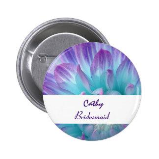 BRIDESMAID Button with AQUA PURPLE Dahlia V12