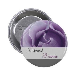BRIDESMAID Button with LAVENDER PURPLE Rose