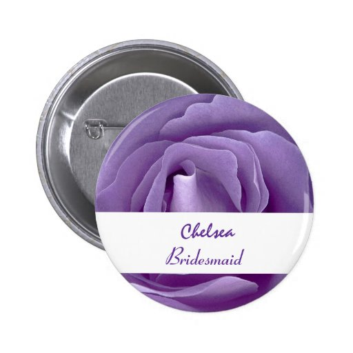 BRIDESMAID Button with PURPLE Rose V02 Button