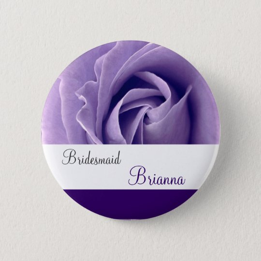 BRIDESMAID Button with PURPLE Rose V3