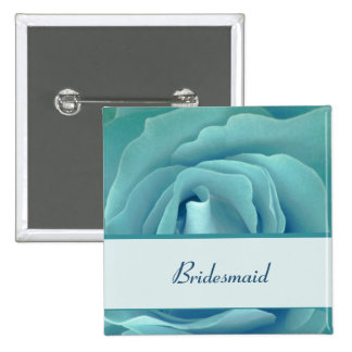 BRIDESMAID Button with Turquoise Rose and Ribbon 2 Inch Square Button