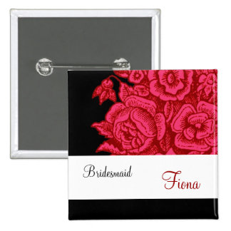 BRIDESMAID Button with Vintage Red Roses