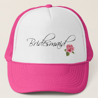 Bridesmaid Calligraphy and Rose Trucker Hat