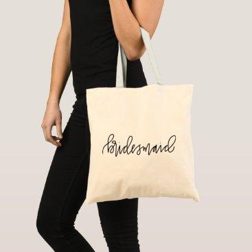 Bride Themed Bridesmaid Calligraphy Tote Bag
