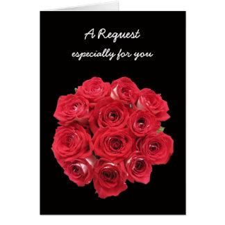 Bridesmaid Card Bridal Bouquet Roses