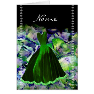 Bridesmaid Card EMERALD GREEN Gown on Flower Cloud