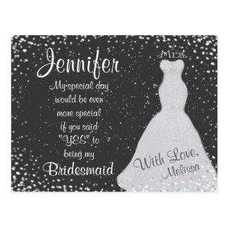 Bridesmaid Chalkboard Confetti Postcard