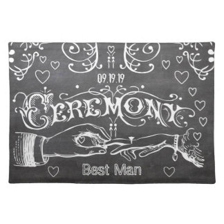 Bridesmaid Chalkboard Modern Vintage Typography Cloth Placemat