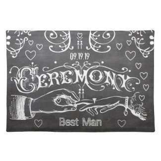 Bridesmaid Chalkboard Modern Vintage Typography Place Mat