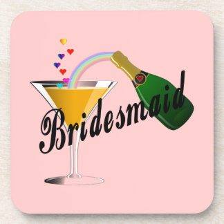 Bridesmaid Champagne Toast Beverage Coaster