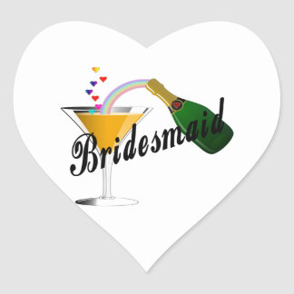 Bridesmaid Champagne Toast Heart Sticker