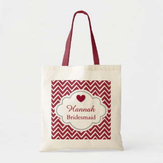 Bridesmaid Chevron Pattern Heart Accent RED A6 Tote Bag