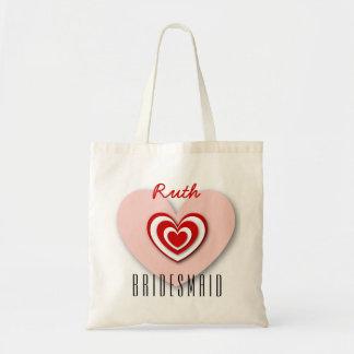 BRIDESMAID Custom Name 3D Look Layered Hearts V03 Tote Bag