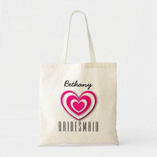 BRIDESMAID Custom Name 3D Look Layered Hearts V04 Tote Bag