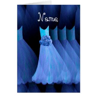 BRIDESMAID Custom Name - COBALT BLUE Dresses Cards