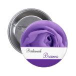 BRIDESMAID Custom Name Lavender Purple Rose 3 Pinback Button