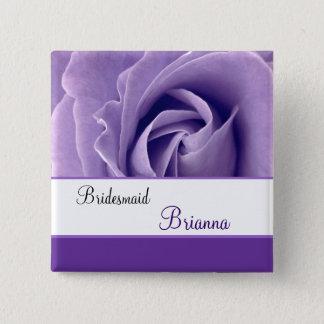 BRIDESMAID Custom Name Lavender Purple Rose Button