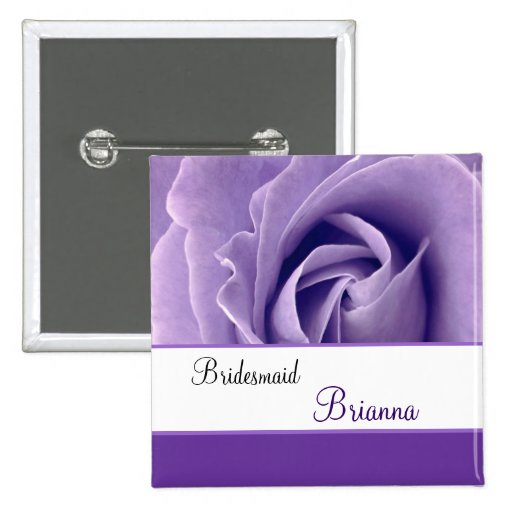 BRIDESMAID Custom Name Lavender Purple Rose Buttons