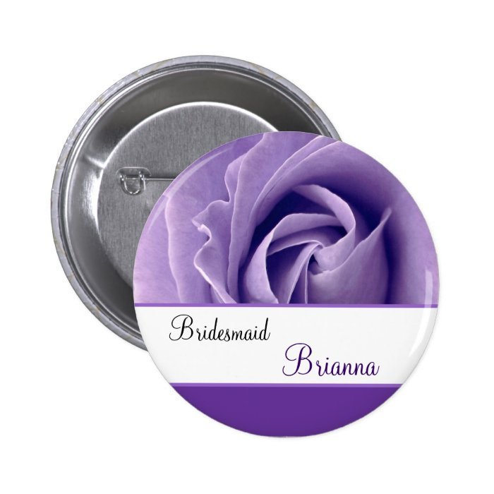 BRIDESMAID Custom Name Lavender Purple Rose Pinback Button