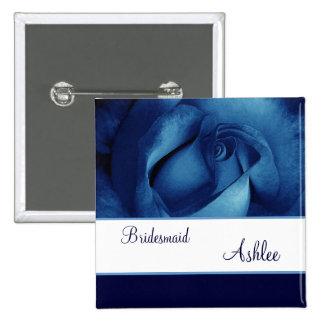BRIDESMAID Custom Name Navy Blue Rose No 05 Pinback Button