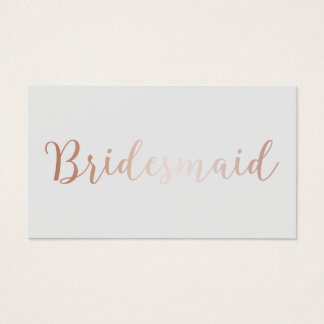Bridesmaid Elegant Rose Gold Script Classy Grey Business Card