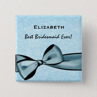 Bridesmaid Faux Blue Satin Bow Custom Name Button