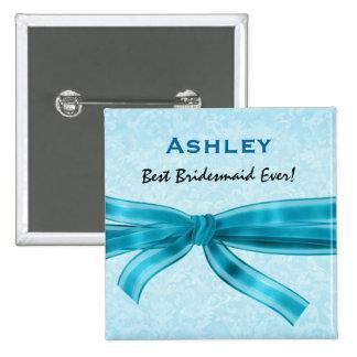 Bridesmaid Faux Blue Satin Bow Custom Name 2 Inch Square Button