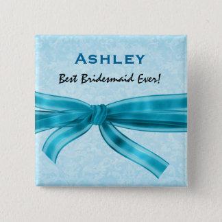 Bridesmaid Faux Blue Satin Bow Custom Name Pinback Button