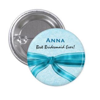 Bridesmaid Faux Blue Satin Bow Custom Name V2 1 Inch Round Button