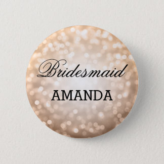 Bridesmaid Favor Copper Glitter Lights Pinback Button