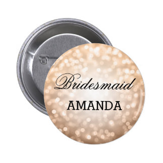 Bridesmaid Favor Copper Glitter Lights Pinback Button