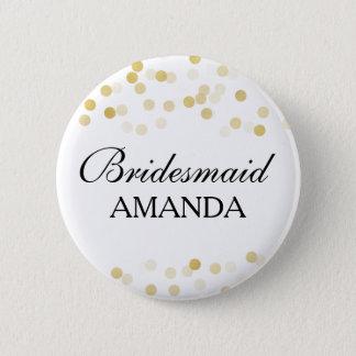 Bridesmaid Favor Faux Gold Foil Glitter Lights Pinback Button