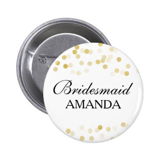 Bridesmaid Favor Faux Gold Foil Glitter Lights Pinback Button