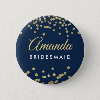 Bridesmaid Favor Gold Faux Glitter Confetti Navy Button