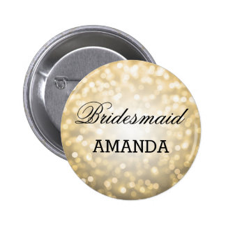 Bridesmaid Favor Gold Glitter Lights Pinback Button