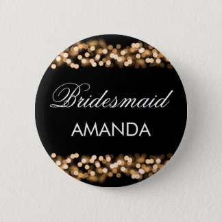 Bridesmaid Favor Gold Hollywood Glam Pinback Button