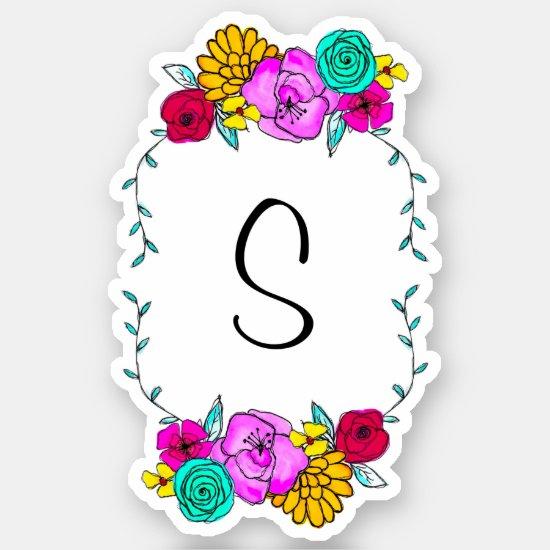 Bridesmaid Favor Monogram Vinyl Watercolor Floral Sticker