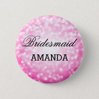 Bridesmaid Favor Pink Glitter Lights Pinback Button