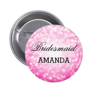 Bridesmaid Favor Pink Glitter Lights Pinback Button