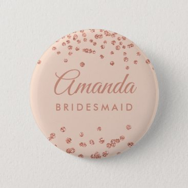Bridesmaid Favor Rose Gold Glitter Confetti Blush Pinback Button