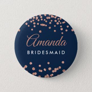 Bridesmaid Favor Rose Gold Glitter Confetti Navy Pinback Button