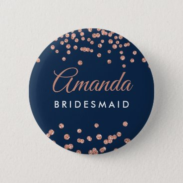 Wedding Themed Bridesmaid Favor Rose Gold Glitter Confetti Navy Pinback Button