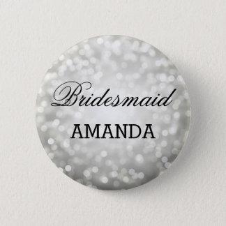 Bridesmaid Favor Silver Glitter Lights Pinback Button