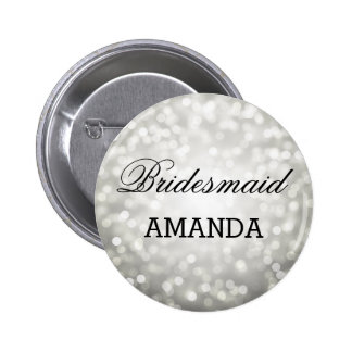 Bridesmaid Favor Silver Glitter Lights Pinback Button